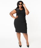 Hell Bunny Plus Size Black Miss Muffet Pencil Dress