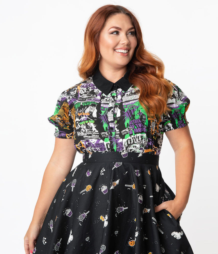 Hell Bunny Plus Size 1950s Be Afraid Print Blouse