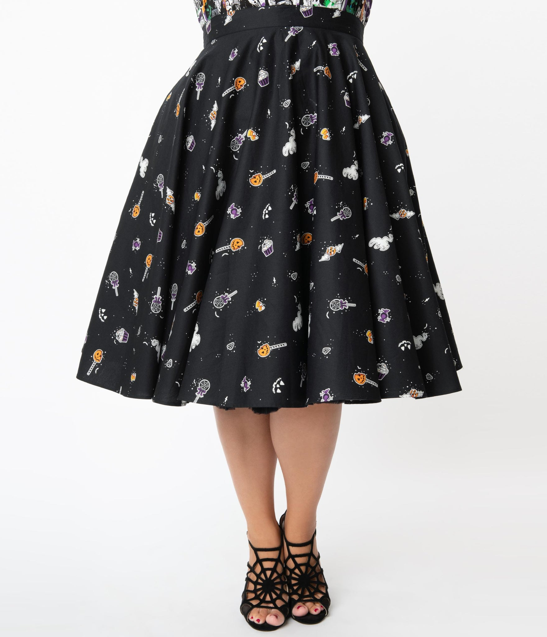 Hell Bunny Plus Size 1950s Trick Or Treat Swing Skirt