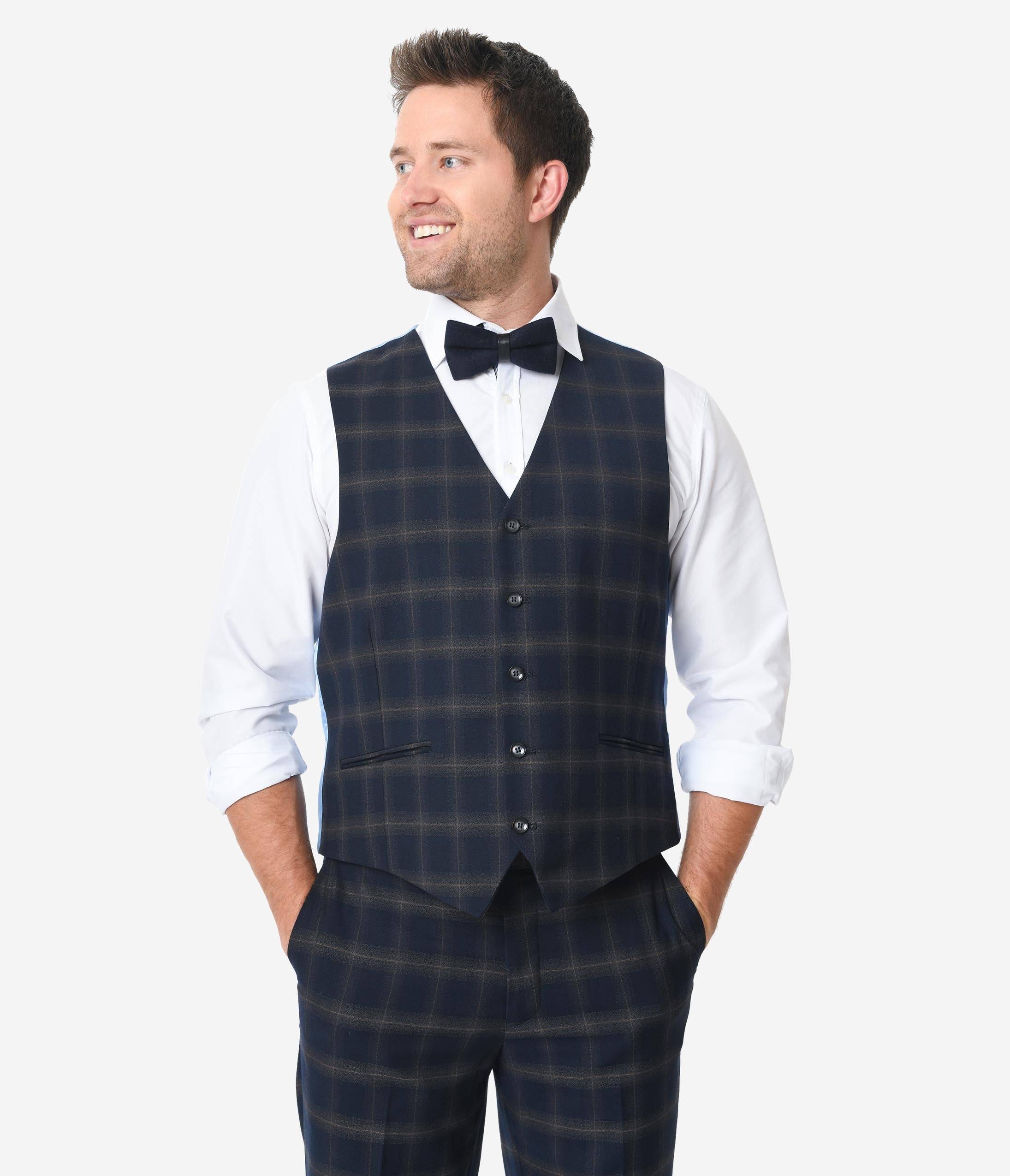 1920s Style Mens Vests Navy Blue Windowpane Mens Vest $74.00 AT vintagedancer.com