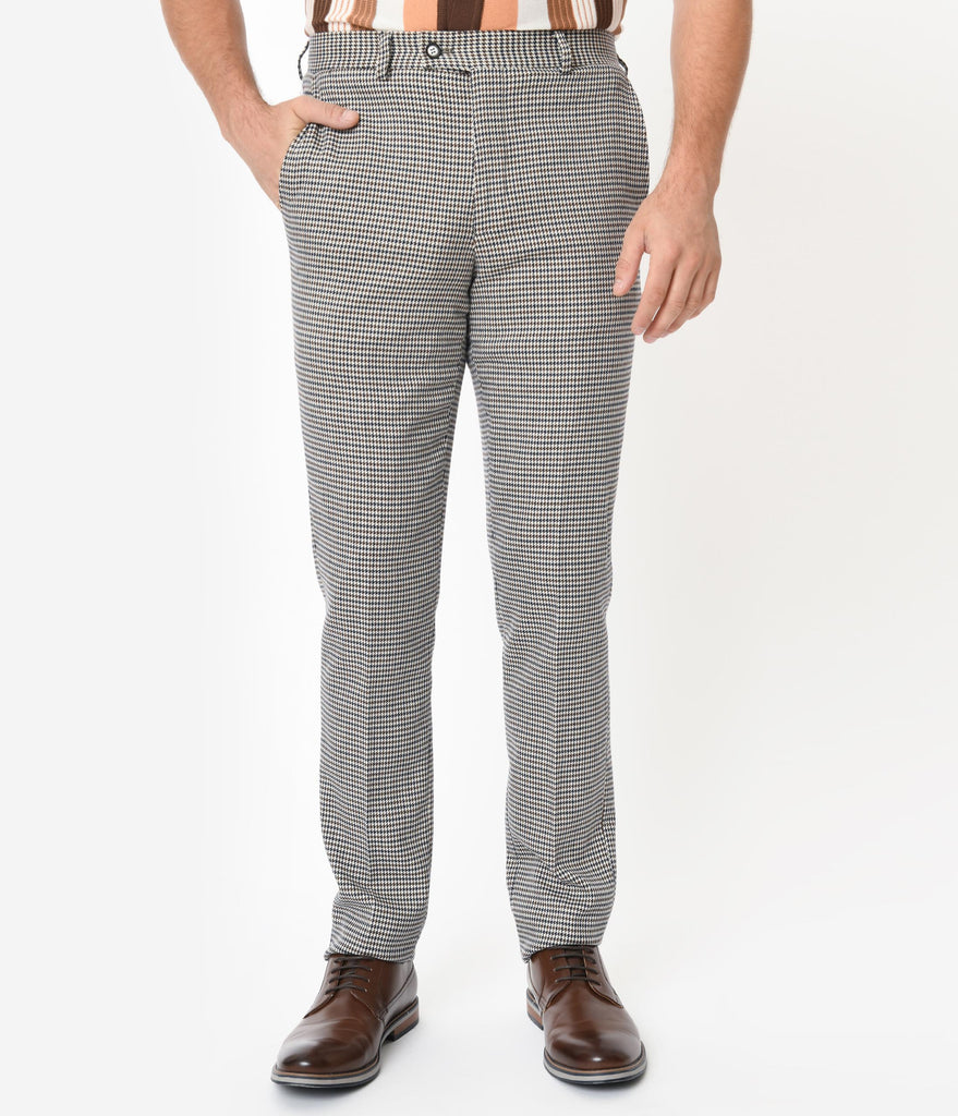 Cream & Brown Houndstooth Mens Pants