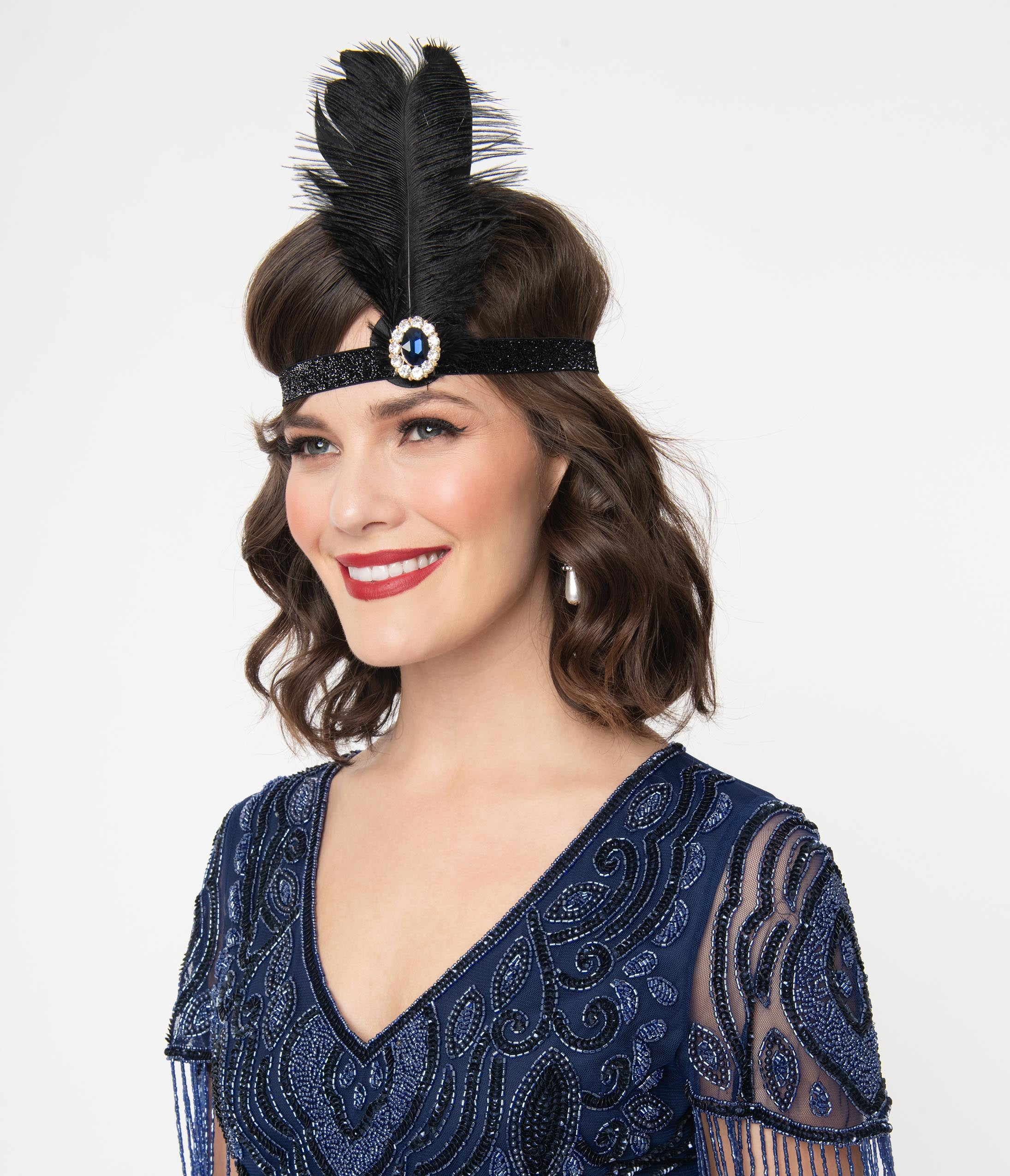 1920s Flapper Headband, Gatsby Headpiece, Wigs 1920S Sapphire Stone  Black Feather Flapper Headband $32.00 AT vintagedancer.com