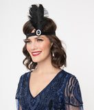 1920s Sapphire Stone & Black Feather Flapper Headband