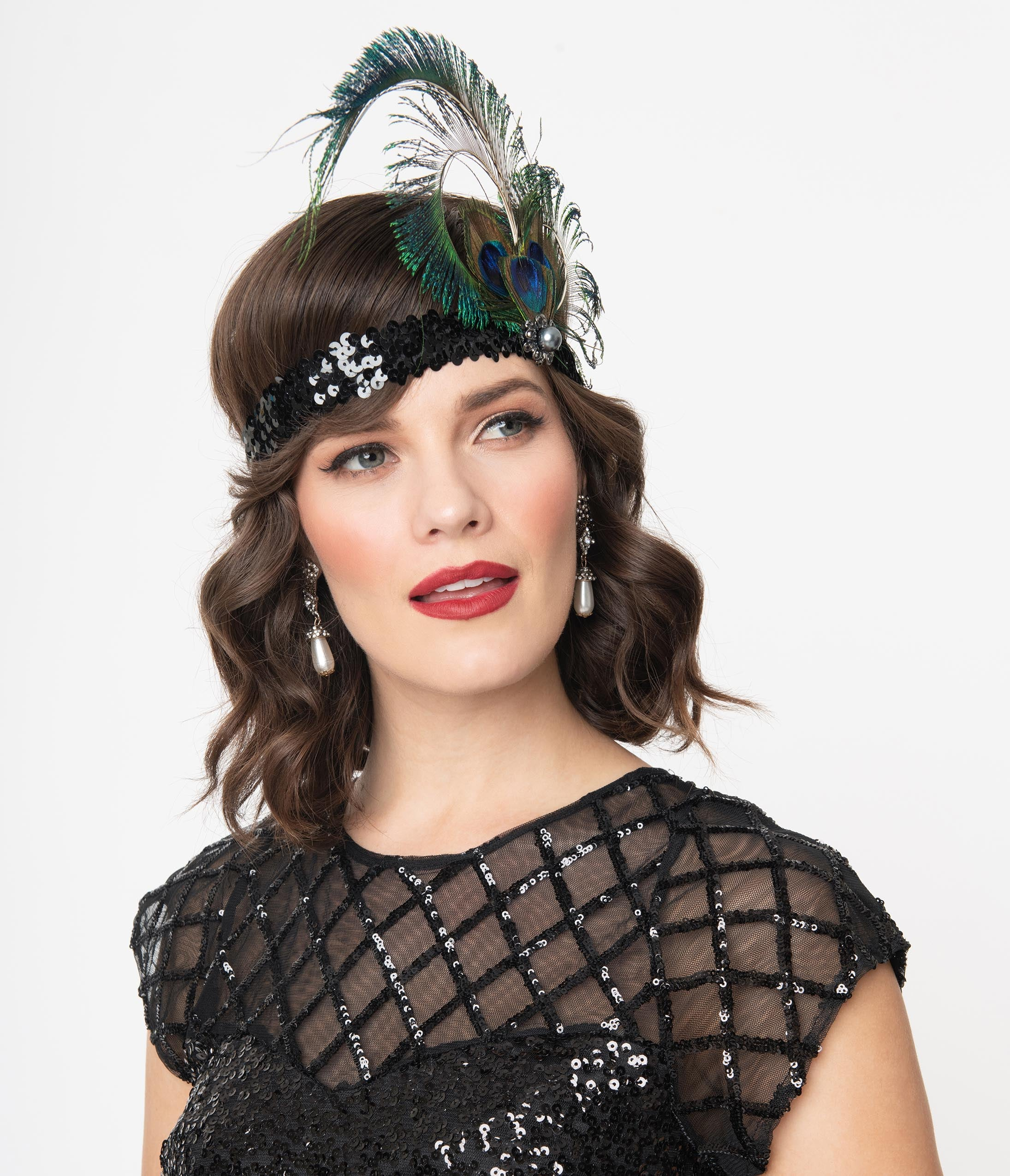 1920s Flapper Headband, Gatsby Headpiece, Wigs 1920S Black Sequin Peacock Feather Flapper Headband $32.00 AT vintagedancer.com