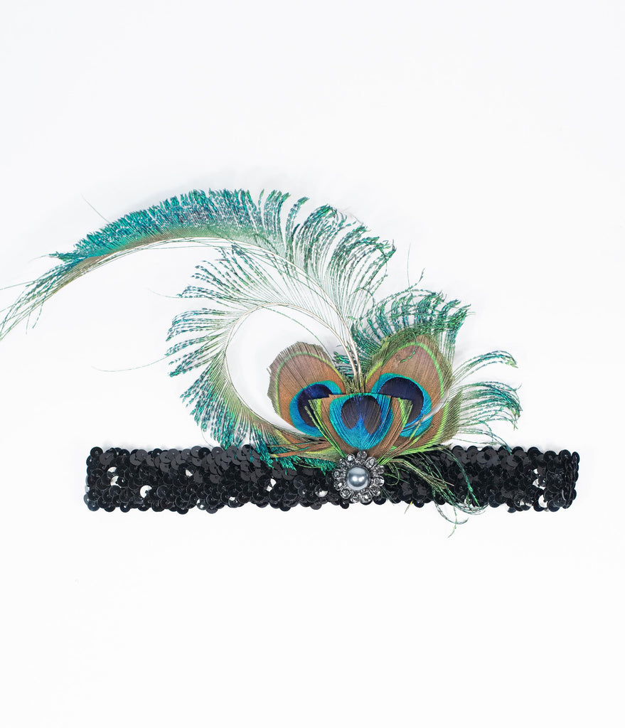 1920/'s Black Sequin Flapper Headband Headpiece Peacock Feathers Great