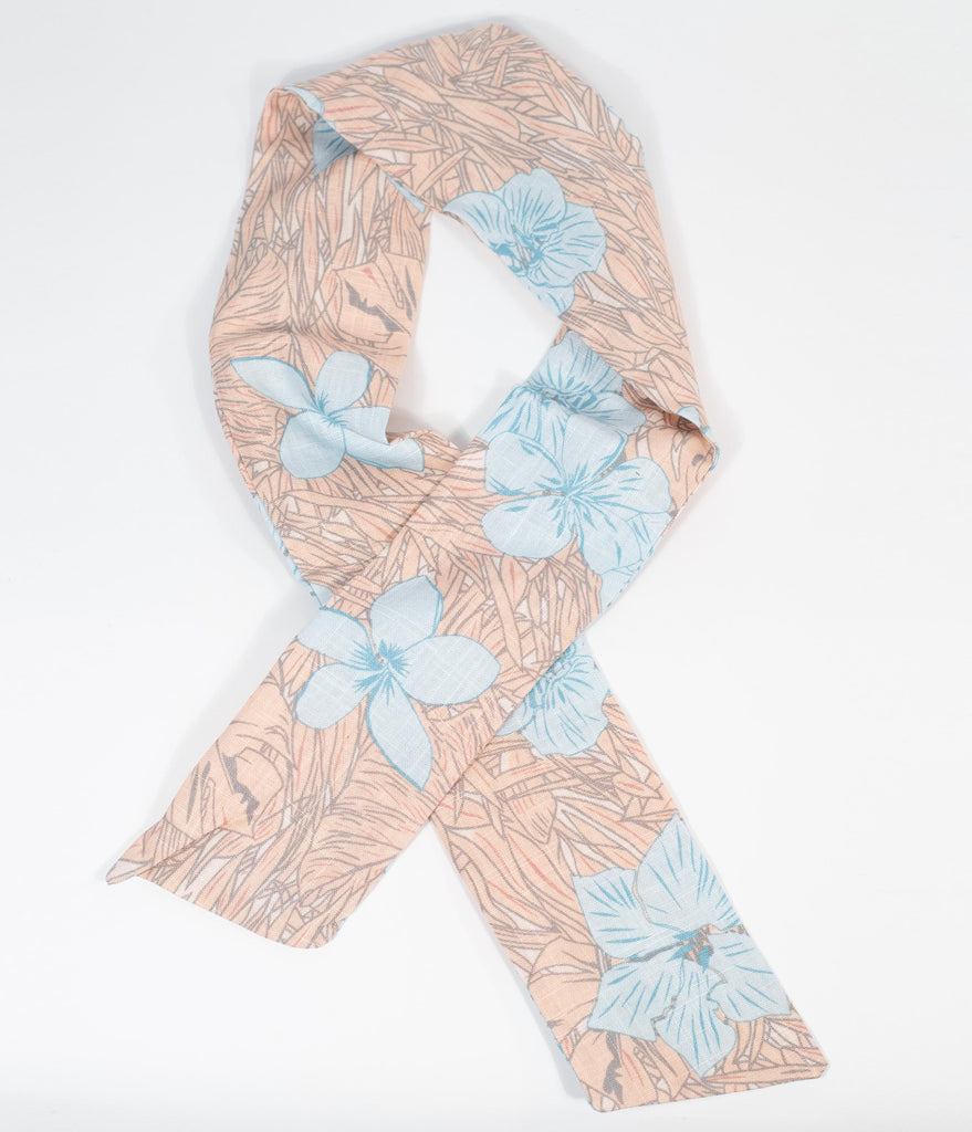 Dusty Pink & Light Blue Floral Bendable Fabric Hair Scarf