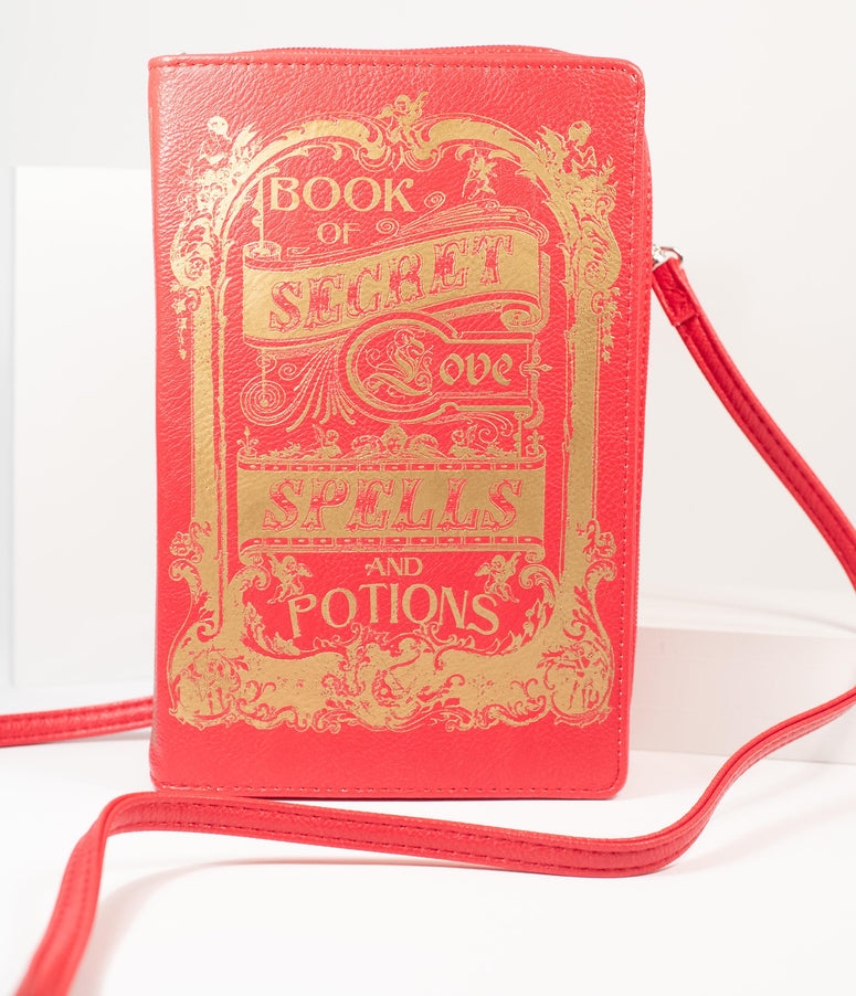 Red & Gold Book of Secret Love Spells Crossbody Purse
