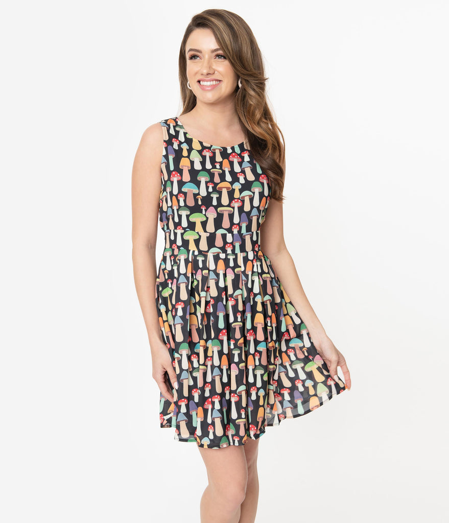 Multicolor Mushroom Print Fit & Flare Dress