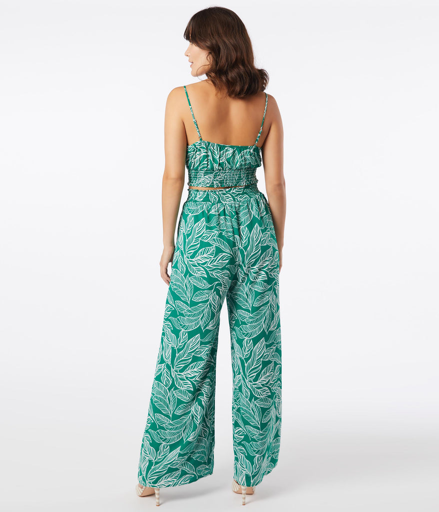 Green & Ivory Tropical Leaf Print Two Piece Set