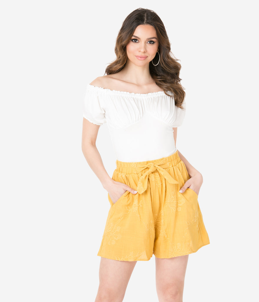 Mustard Yellow Embroidered Shorts