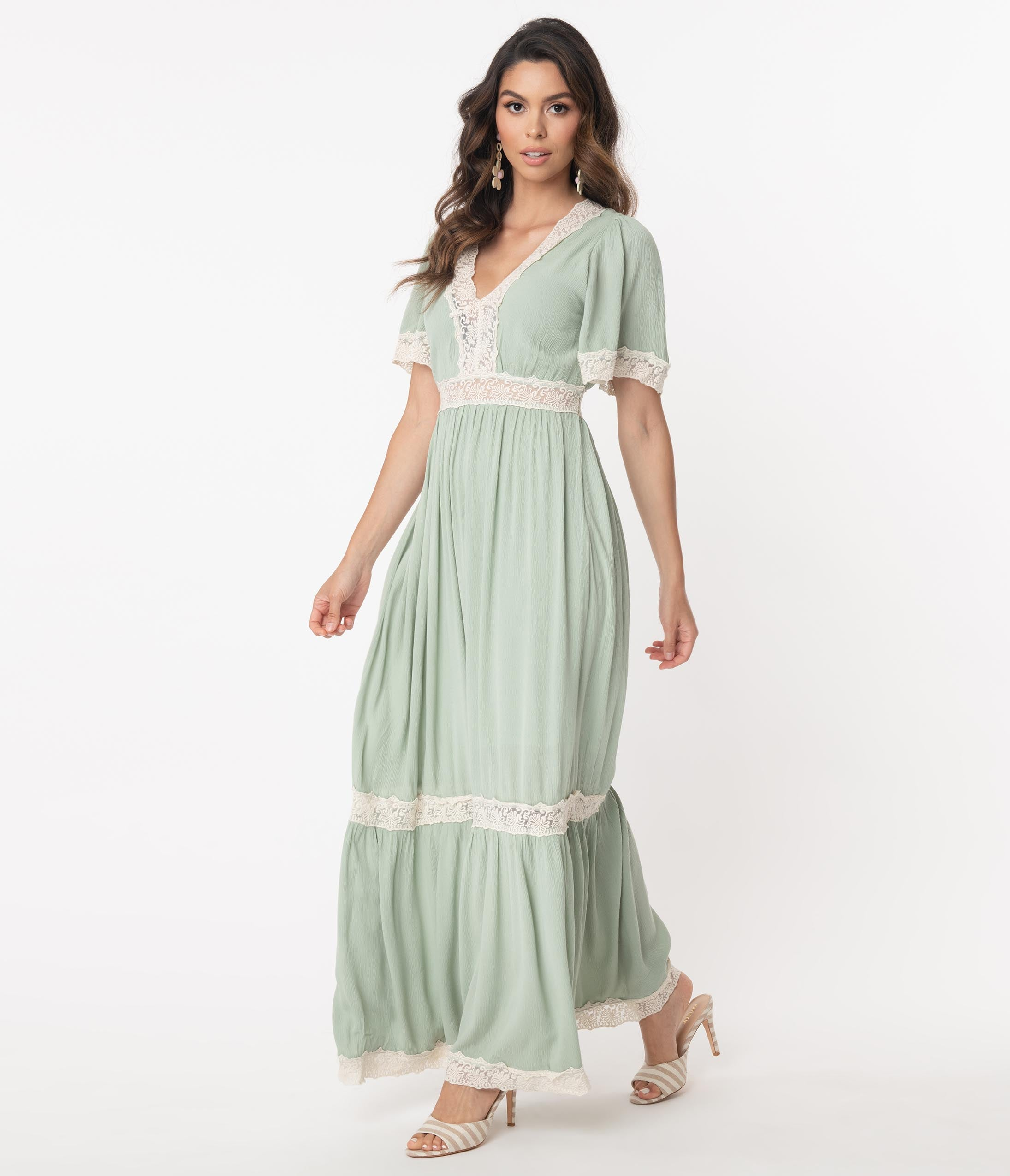 70s Dresses – Disco Dress, Hippie Dress, Wrap Dress 1970S Style Seafoam Lace Trim Maxi Dress $68.00 AT vintagedancer.com