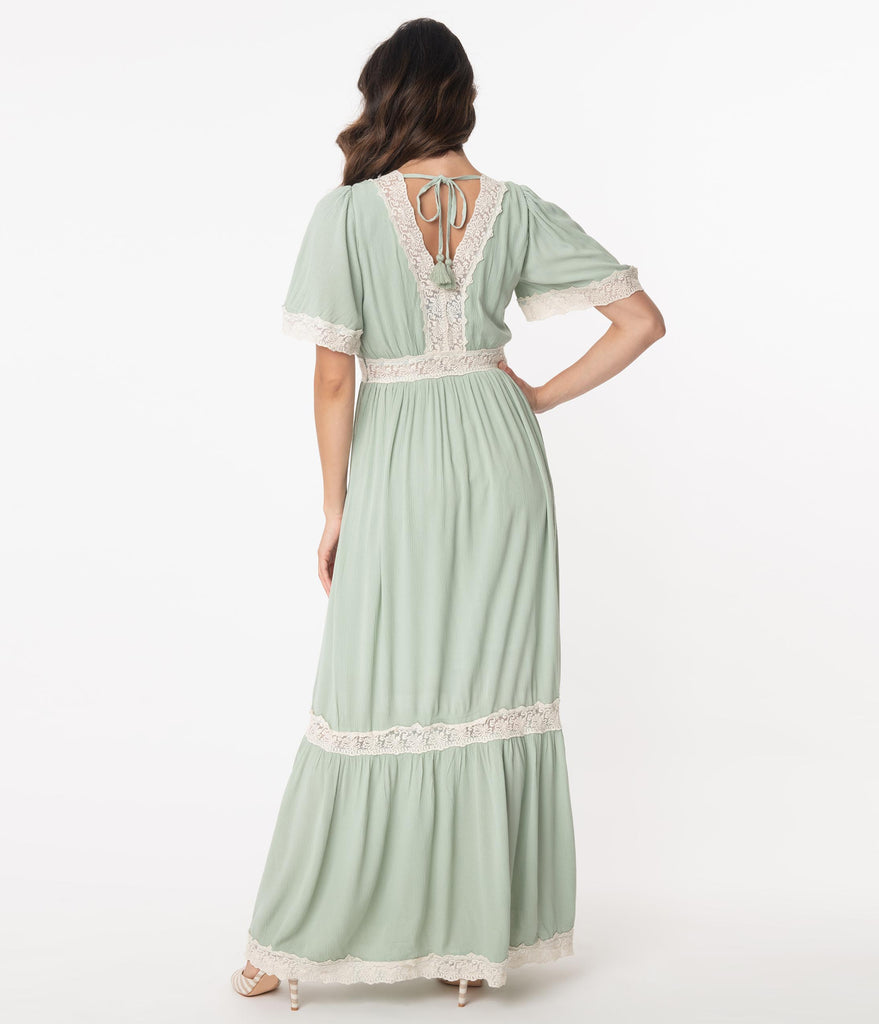 1970s Style Seafoam Lace Trim Maxi Dress