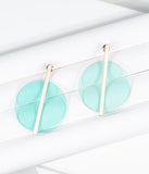 1960s Teal Circle Mod Earrings