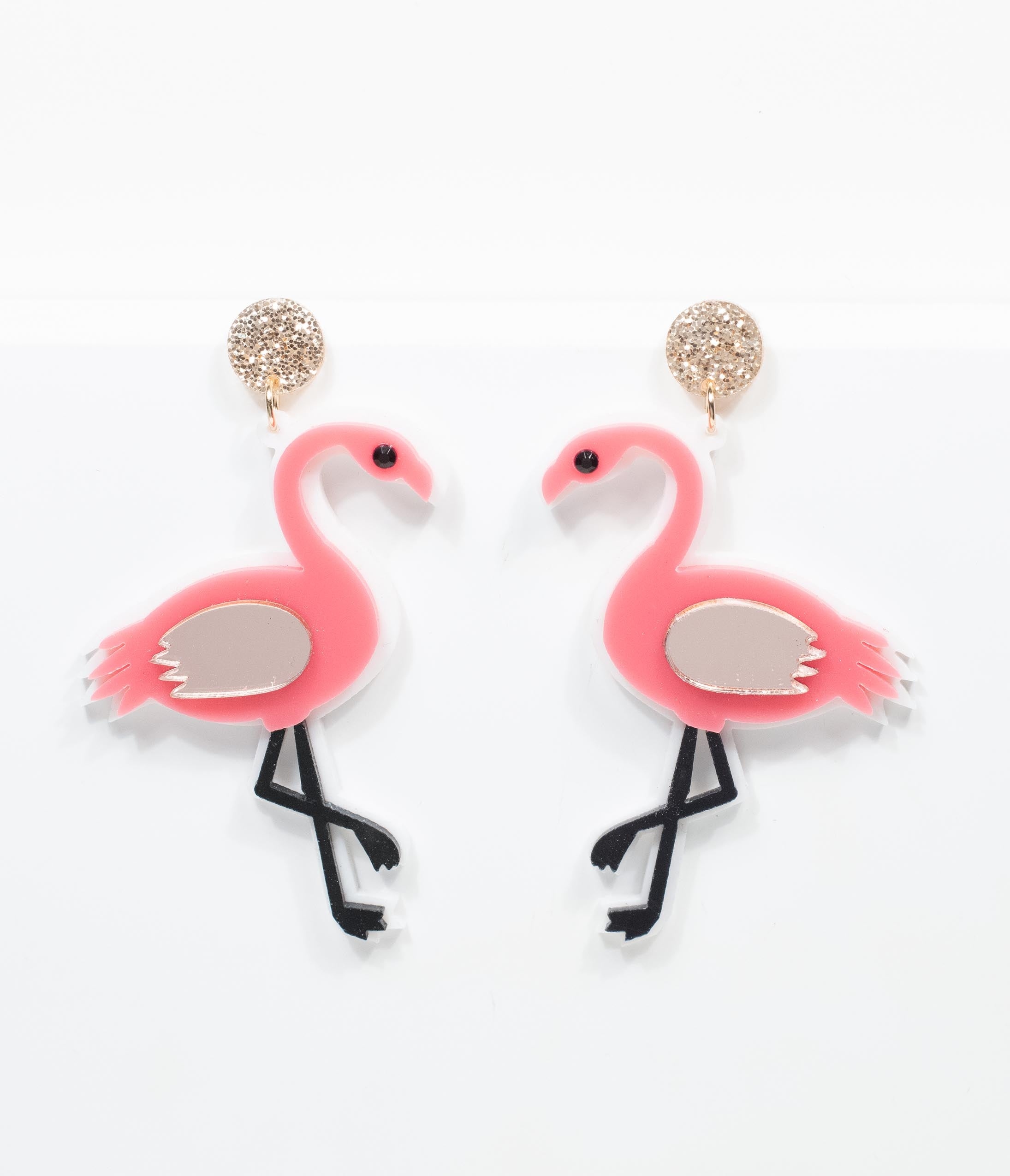 Vintage Style Jewelry, Retro Jewelry Pink Flamingos Drop Earrings $24.00 AT vintagedancer.com