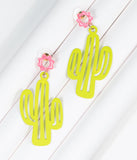 Matte Neon Green Cactus Drop Earrings