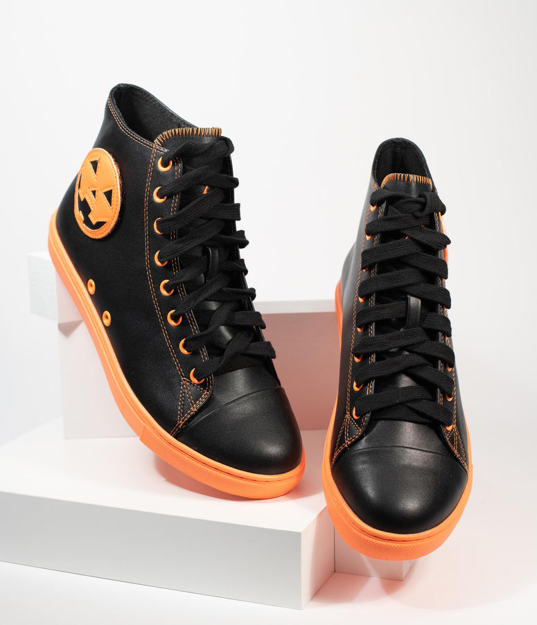 Black & Orange Jack Pumpkin Chelsea High Top Sneakers