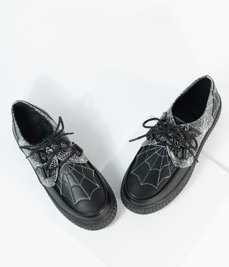 Black Spiderweb Leatherette Krypt Creepers