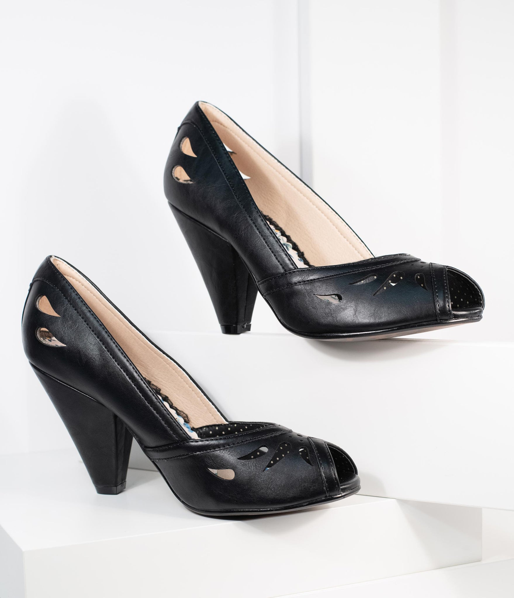 Bettie Page Black Leatherette Peep Toe Marilyn Pumps
