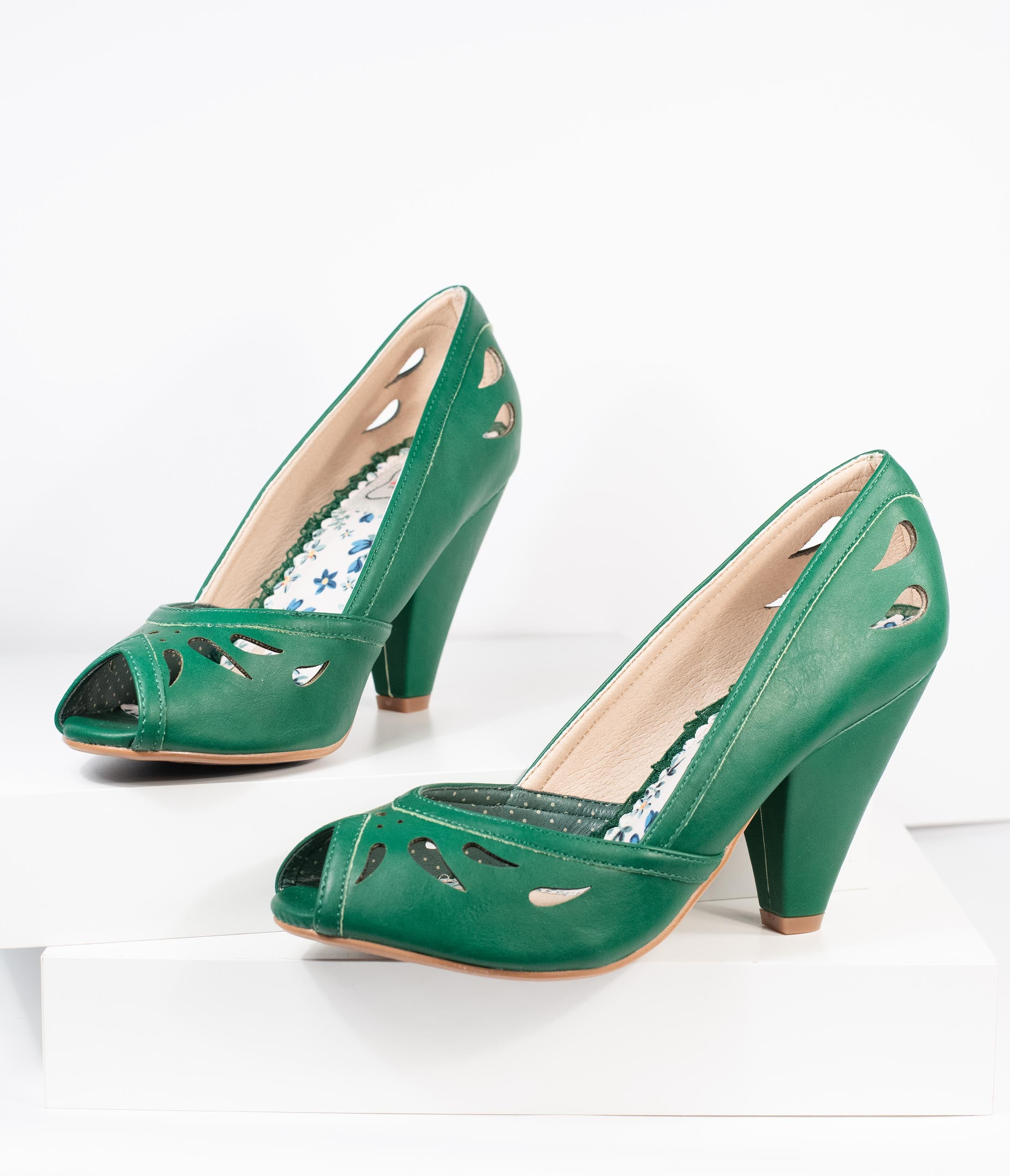 Rockabilly Shoes- Heels, Pumps, Boots, Flats Bettie Page Green Leatherette Peep Toe Marilyn Pumps $88.00 AT vintagedancer.com