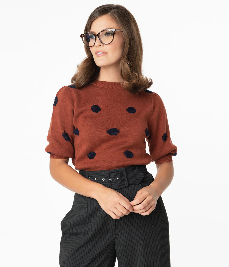 Brown & Navy Polka Dot Sweater