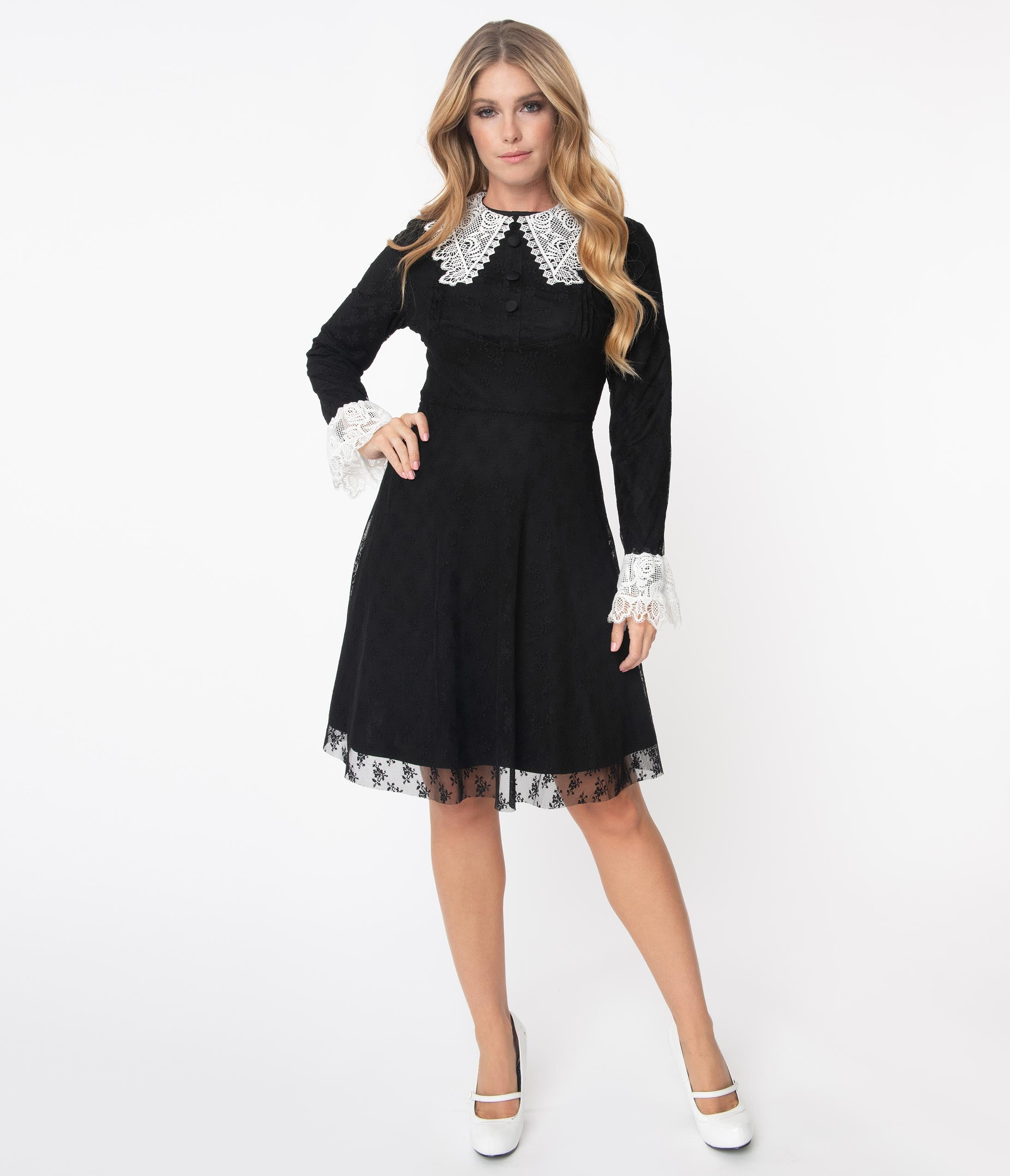 80s Dresses | Casual to Party Dresses Black  White Lace Collar Weird Sisters Fit  Flare Dresses $78.00 AT vintagedancer.com