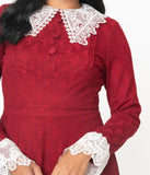 Red & White Lace Collar Weird Sisters Fit & Flare Dresses