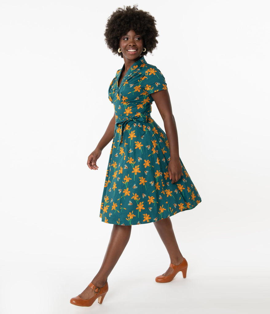 1950s Teal & Orange Floral Bumblebee Print Swing Dress