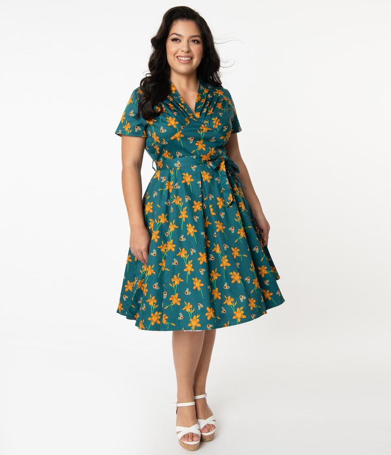 Plus Size 1950s Teal & Orange Floral Bumblebee Print Swing Dress