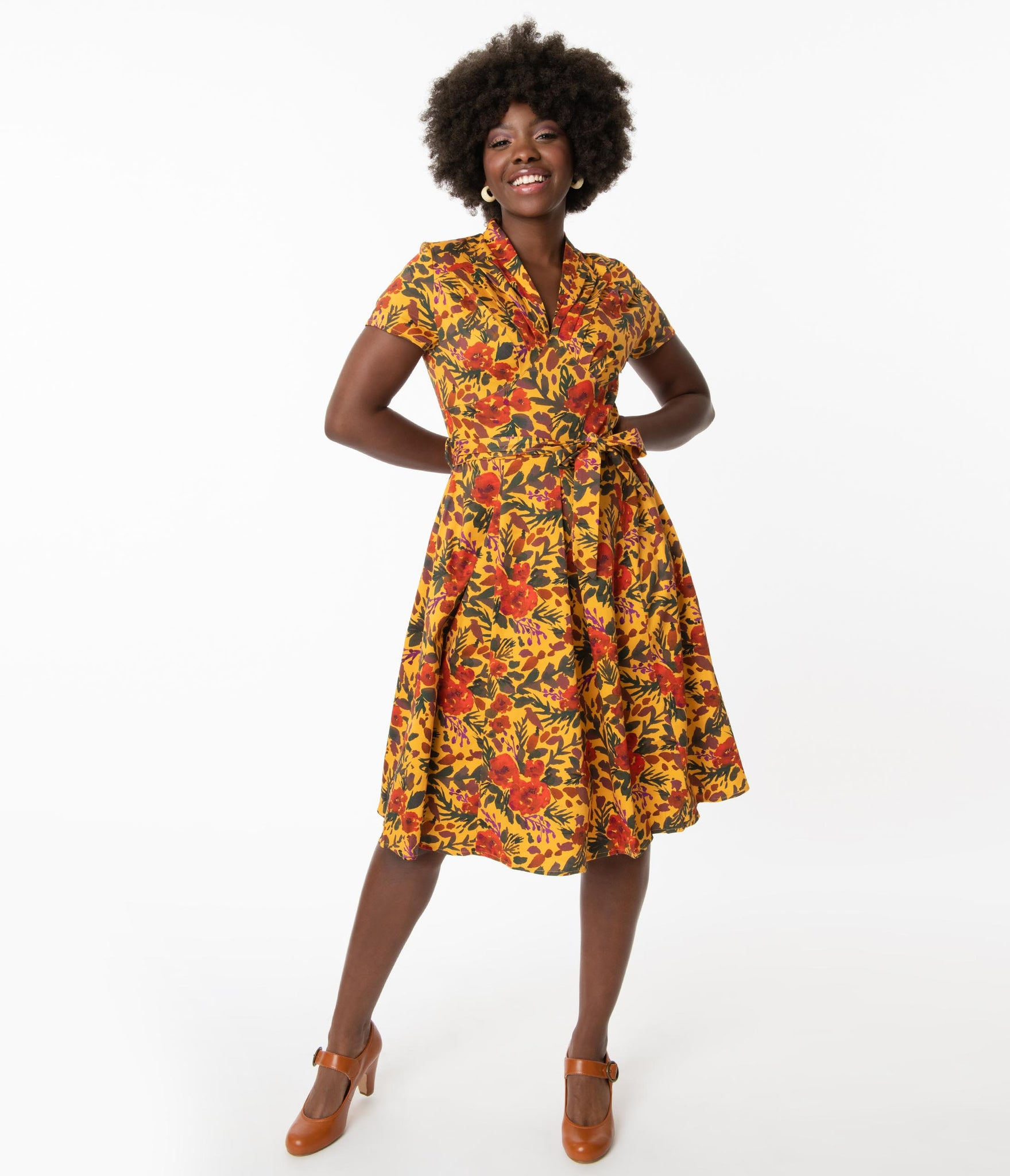 1950s Mustard & Fall Floral Print Swing Dress