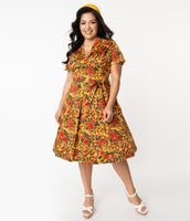 Plus Size Modest V-neck Short Sleeves Sleeves Elasticized Waistline Pleated Side Zipper Swing-Skirt Floral Print Fall Cotton Dress With a Bow(s) and a Sash