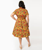 Plus Size 1950s Mustard & Fall Floral Print Swing Dress