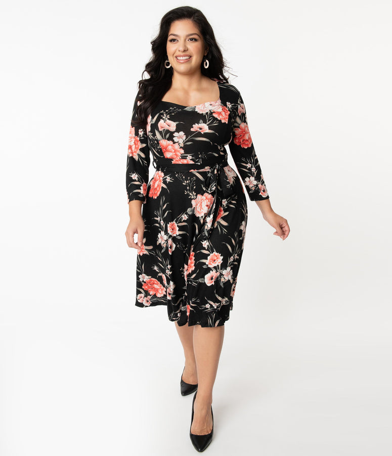 Plus Size 1950s Black & Pink Floral Print Sweater Dress