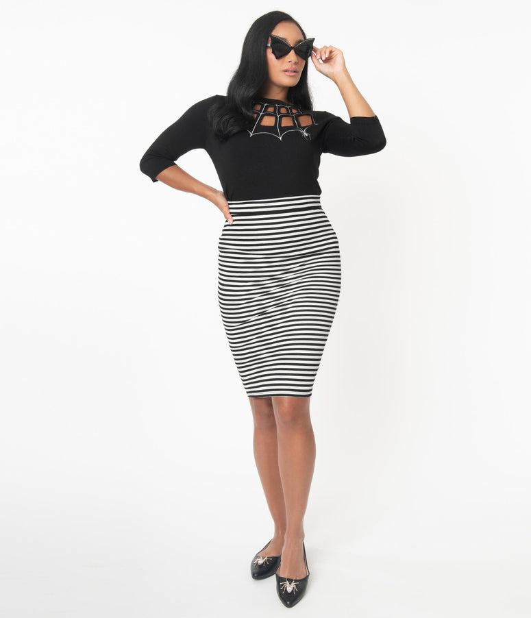 Voodoo Vixen Black & White Stripe Faith Pencil Skirt