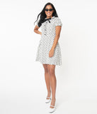 Voodoo Vixen White & Black Cat Print Caddie Flare Dress