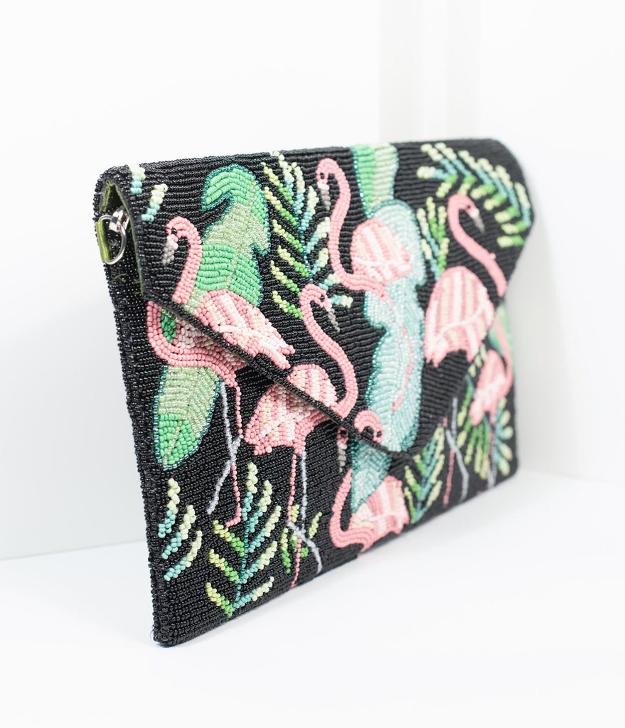 Black & Pink Flamingo Tropical Beaded Envelope Clutch