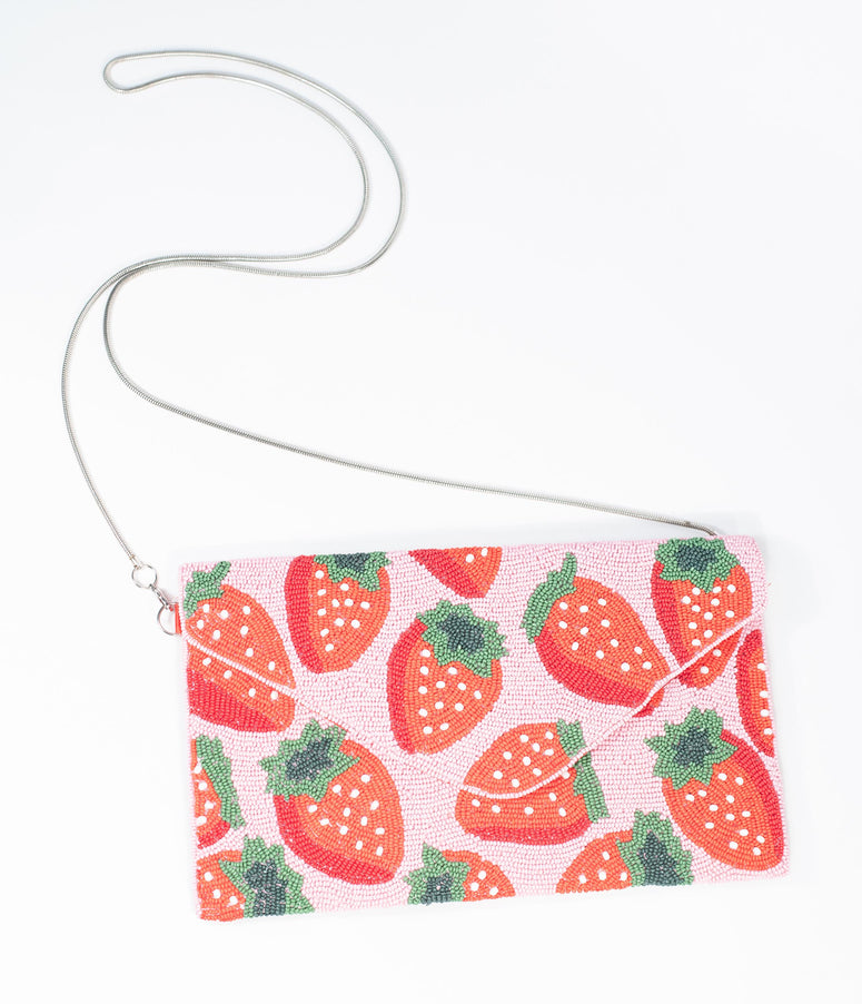 Pink & Red Strawberry Beaded Envelope Clutch