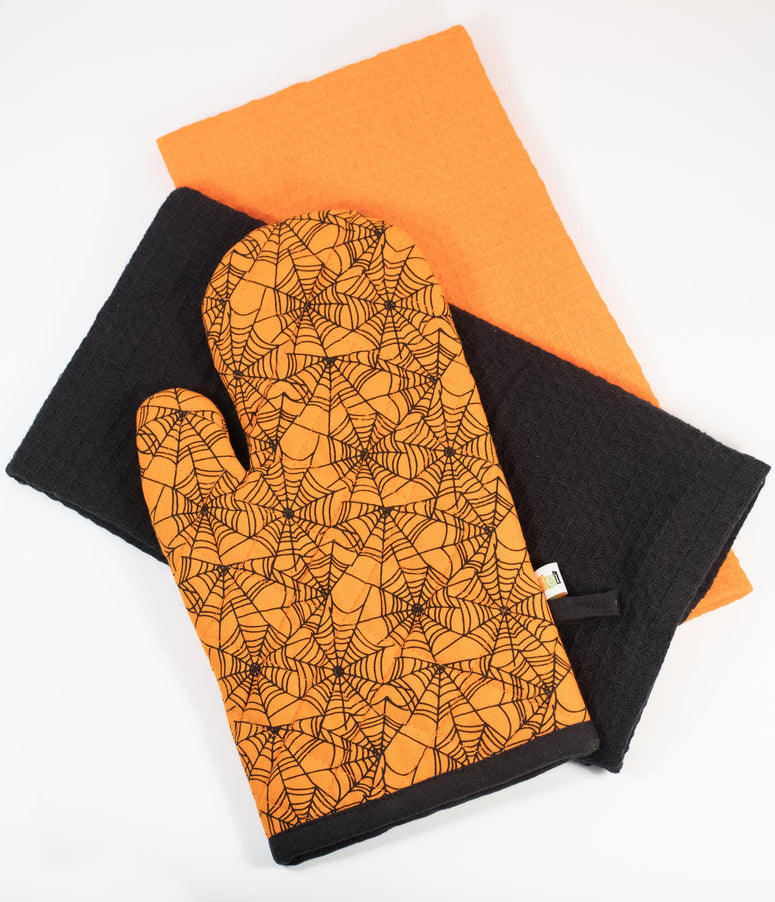 Orange Spiderweb Oven Mitt & Dish Towel Set