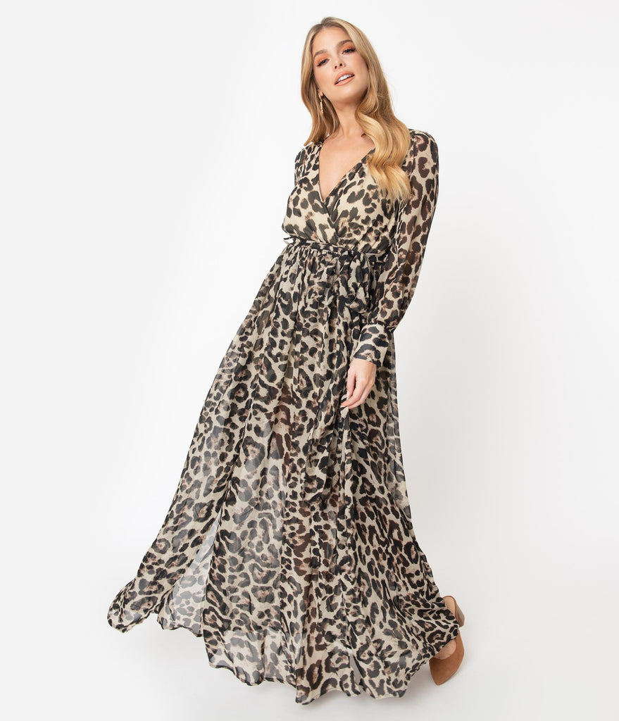 1970s Leopard Print Long Sleeve Maxi Dress