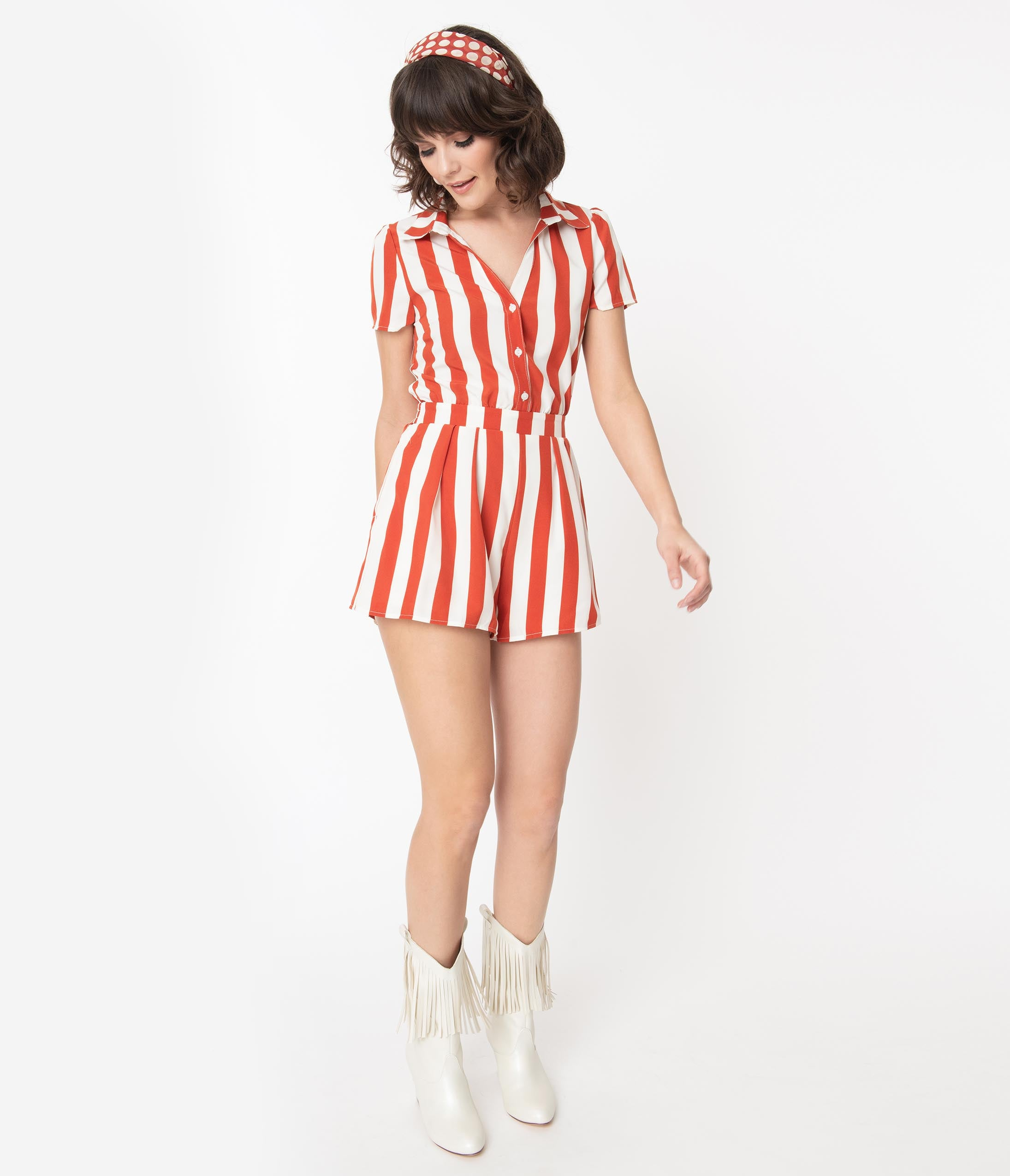 70s Jumpsuit | Disco Jumpsuits, Sequin Rompers Retro Style Rust  Ivory Stripe Romper $48.00 AT vintagedancer.com