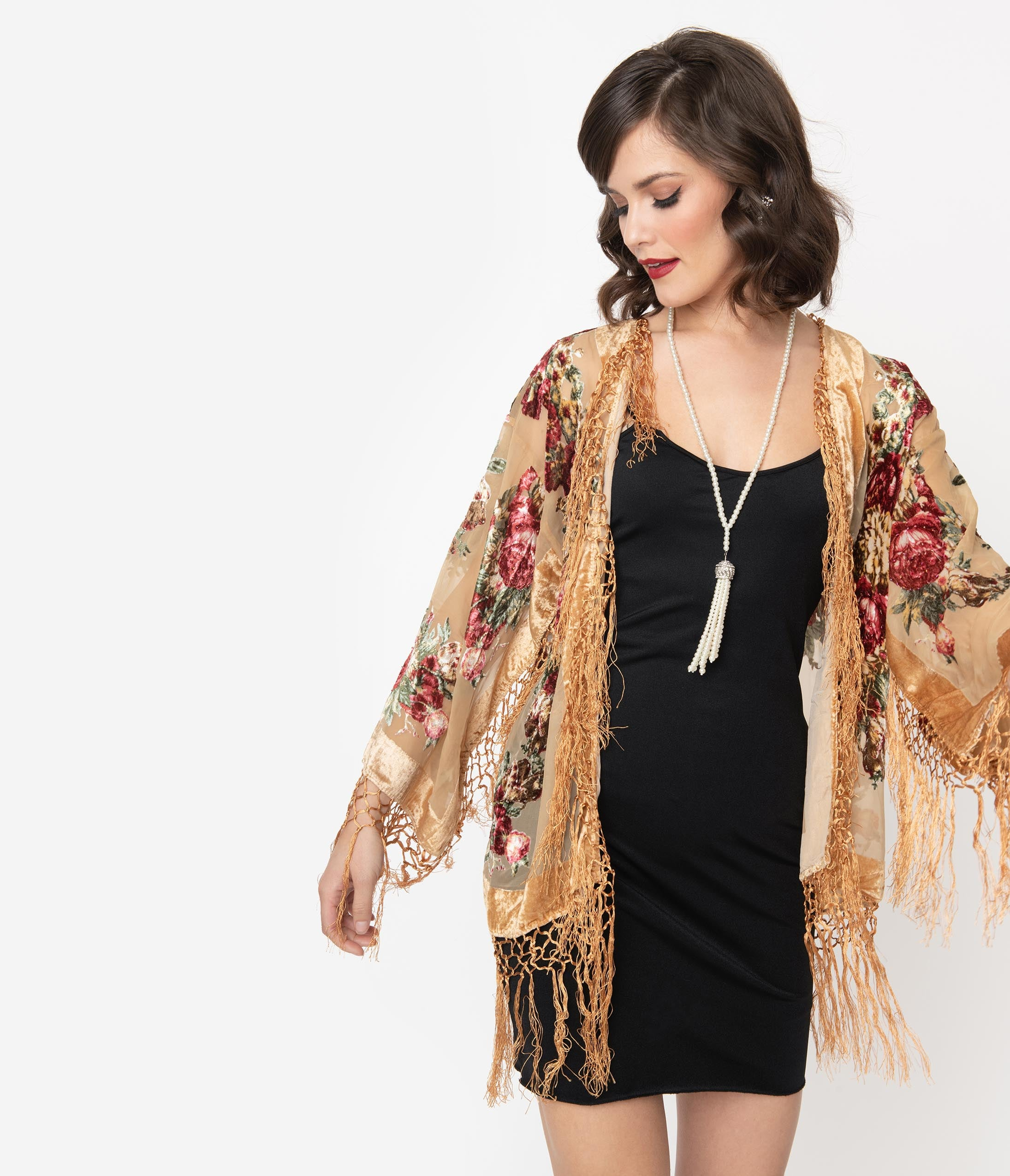 1920s Shawls, Scarves and Evening Jacket Tips 1920S Style Gold  Floral Burnout Velvet Fringe Flapper Coat $118.00 AT vintagedancer.com
