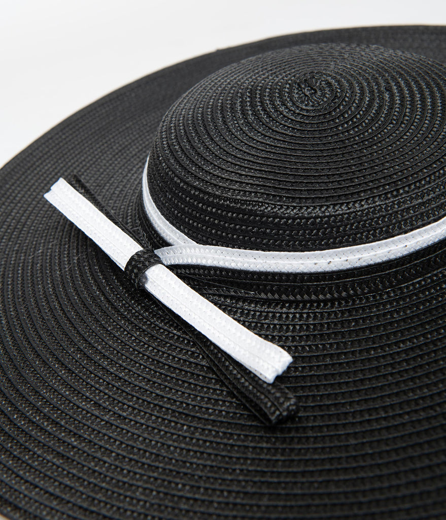 Unique Vintage Black & White Ribbon Disc Hat Headband