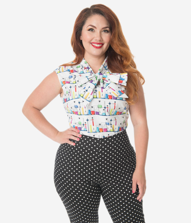 Retrolicious Plus Size Mad Science Print Bow Blouse