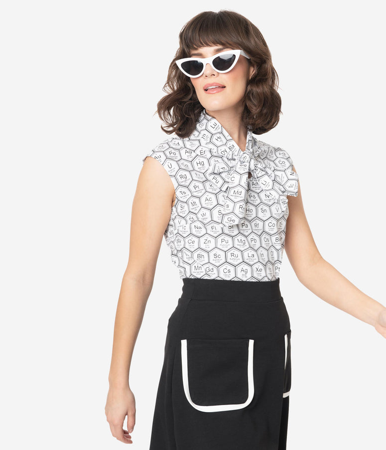 Retrolicious Black & White Elements Print Sleeveless Blouse