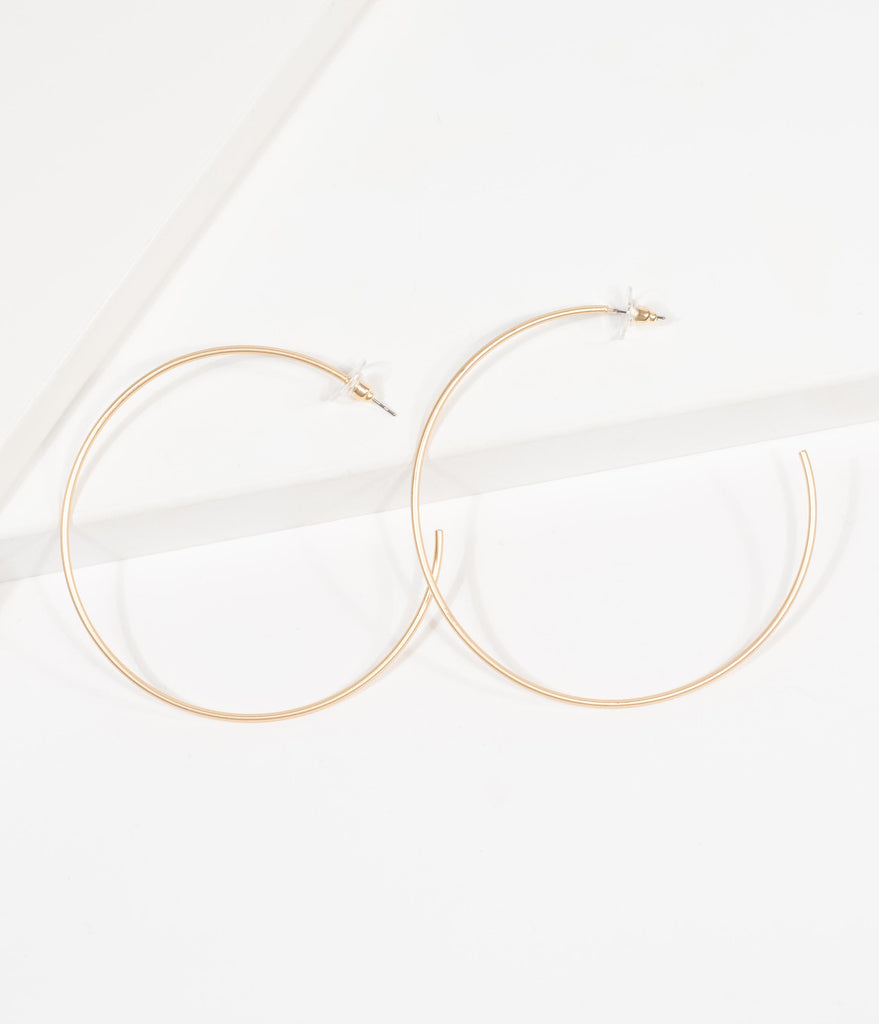 Vintage Style Matte Gold Hoop Earrings
