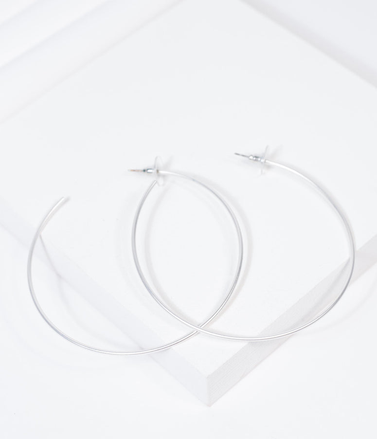 Vintage Style Matte Silver Hoop Earrings