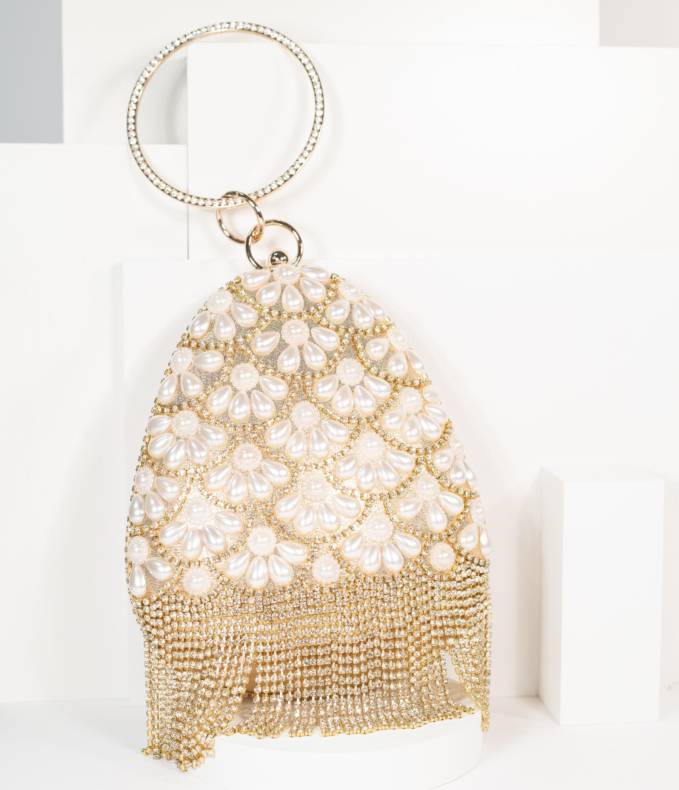 1920s Handbags, Purses, and Shopping Bag Styles Unique Vintage Gold Pearl  Rhinestone Handbag $62.00 AT vintagedancer.com