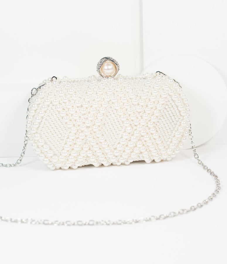 Unique Vintage Ivory Pearl Hard Clutch