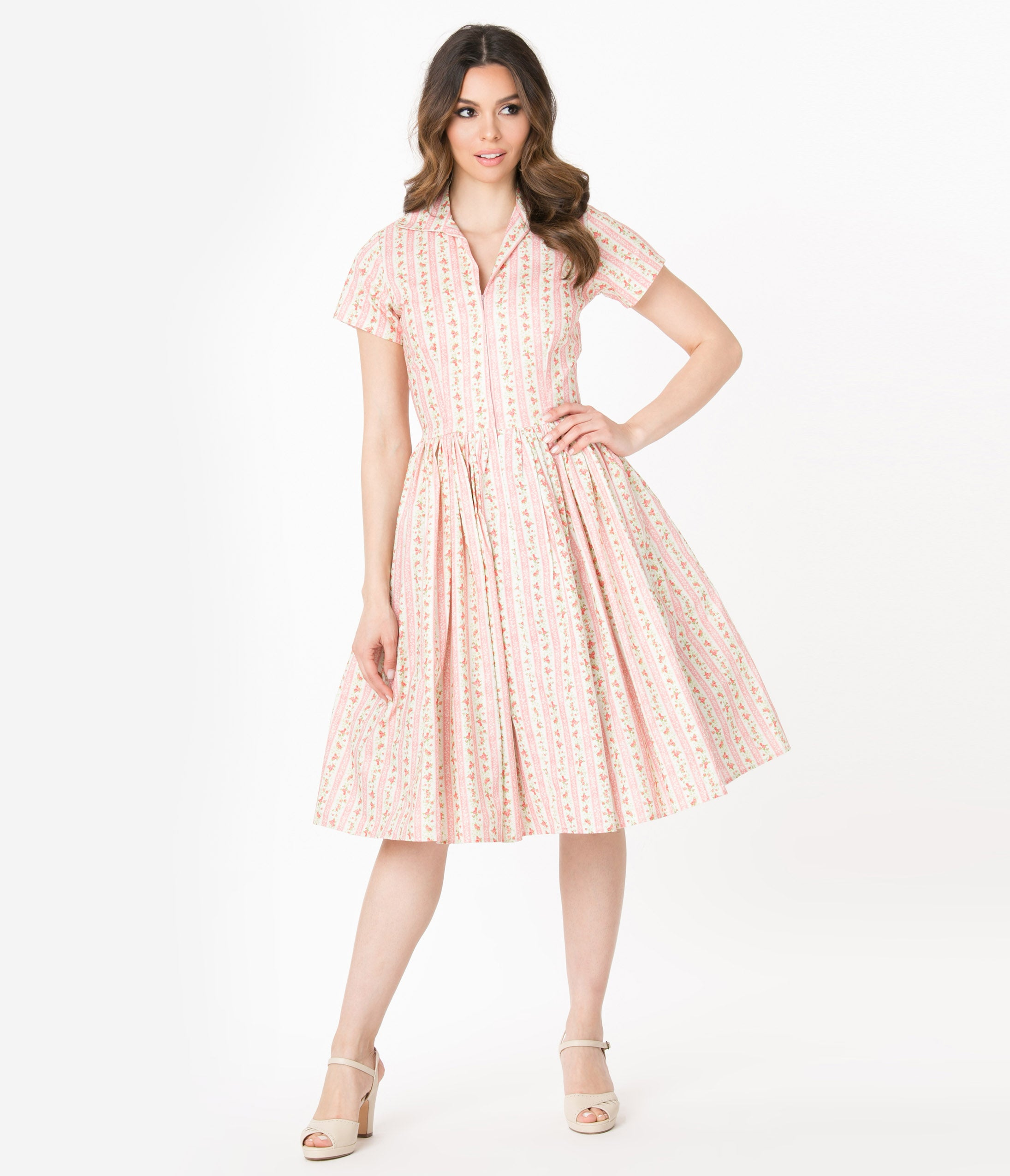 Fifties Dresses : 1950s Style Swing to Wiggle Dresses Bernie Dexter 1950S Pink Striped Wallflower Print Francis Swing Dress $158.00 AT vintagedancer.com