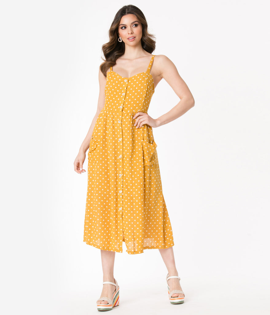 Retro Style Mustard & White Polka Dots Shirtdress