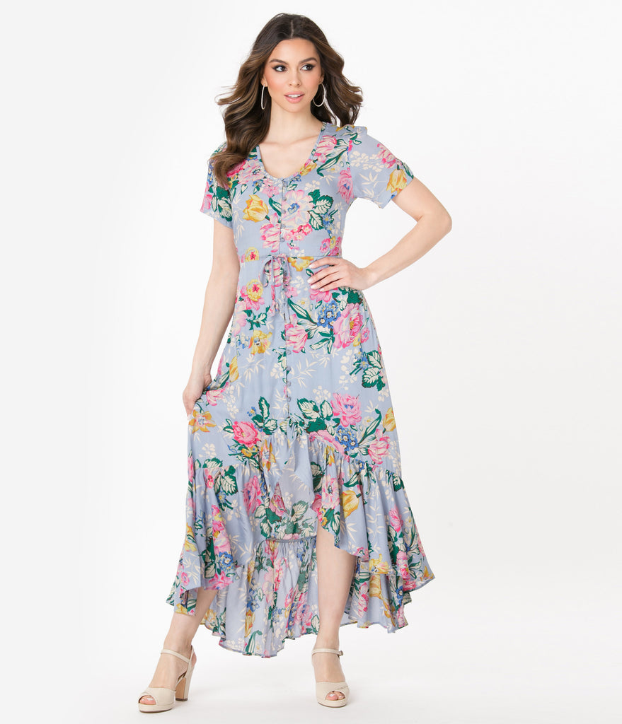 1940s Style Lilac & Multi Floral Print High-Low Dress